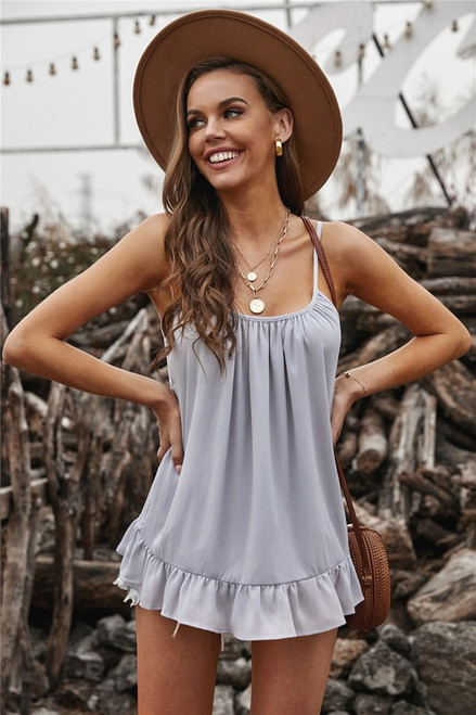 Pleated Ruffle Lightweight Spring Cami Tank Grey