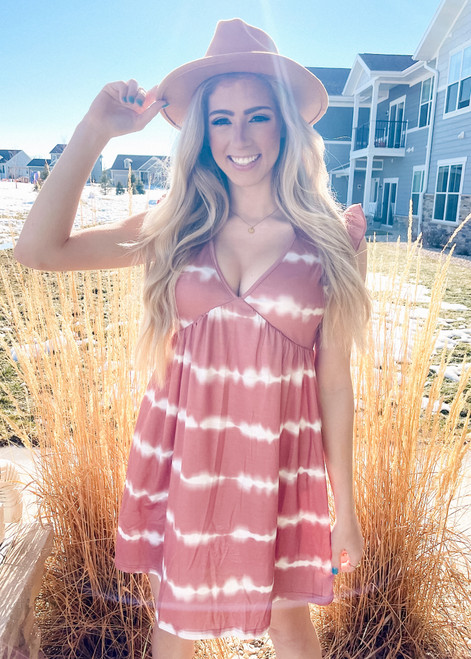 Tie Dye V-Neck Ruffle Dress Pink