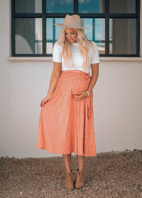 I Look Flawless in Dots Tie Midi Dress White/Coral