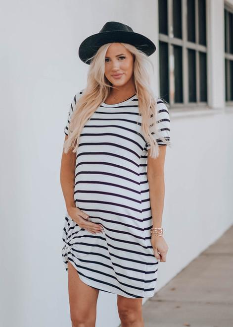 Striped Soft Rayon Twist Dress White/Black