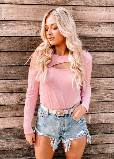 Jersey Knit Top With One Side Open Shoulder Dusty Pink
