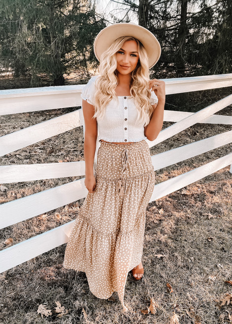 Smocked Ruffled Tiered Spots High Waist Maxi Skirt Beige