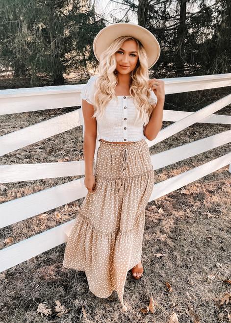 Smocked Ruffled Tiered Spots High Waist Maxi Skirt Beige CLEARANCE