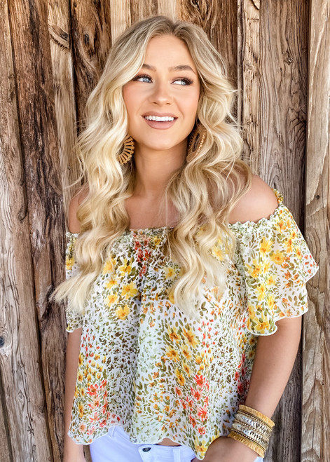 Filled with Florals Off Shoulder Sheer Top Yellow