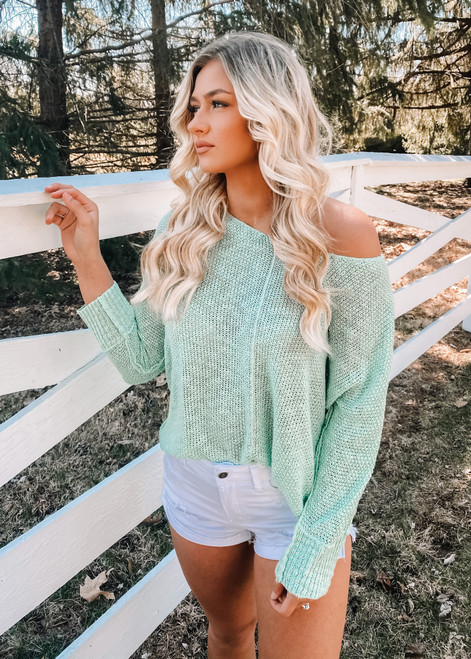 Luxe Slouchy and Lightweight Tunic Top Light Mint