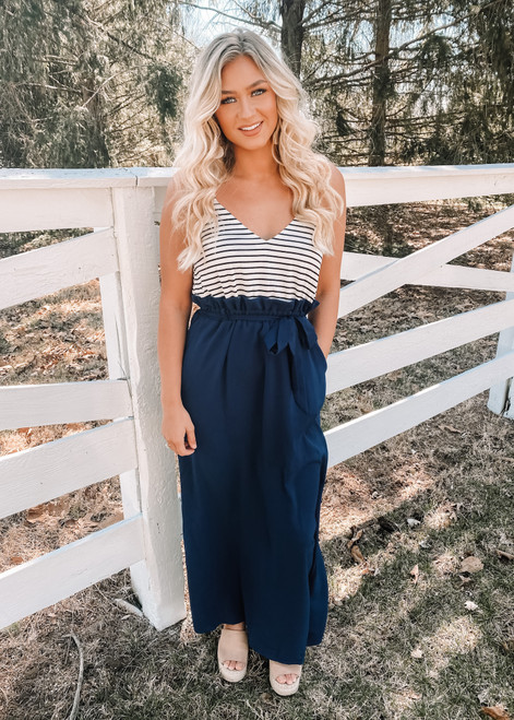 Best Of Me Faux Tie Maxi Dress Navy