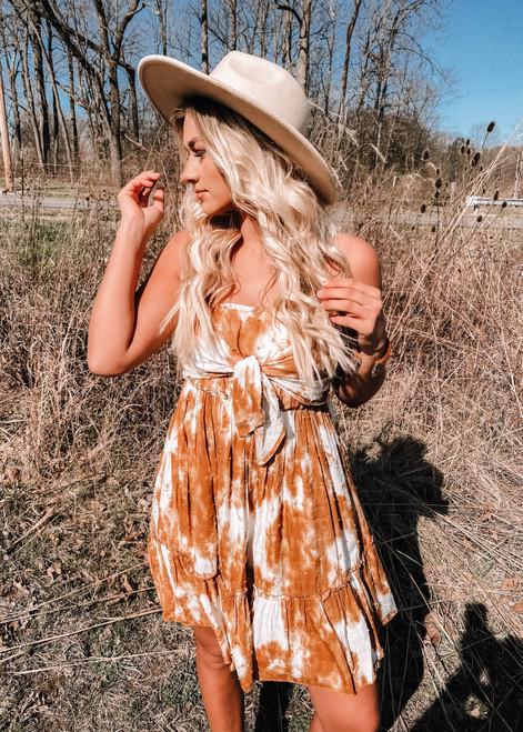 Amazing Tie Dye Details Bow Tube Top Ruffle Dress Brown