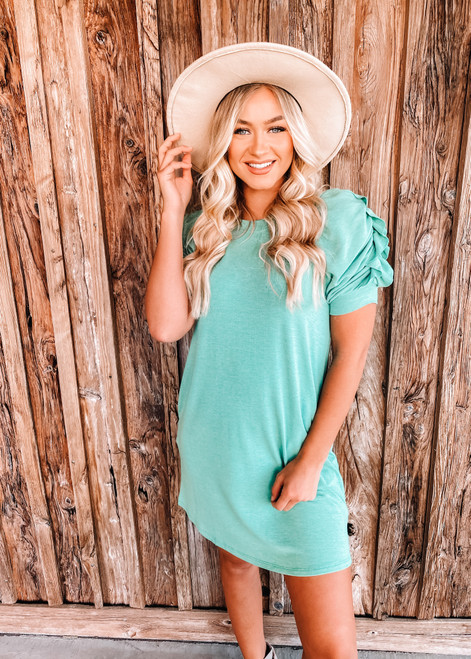 Gathered Detail Short Sleeves French Terry Dress Green
