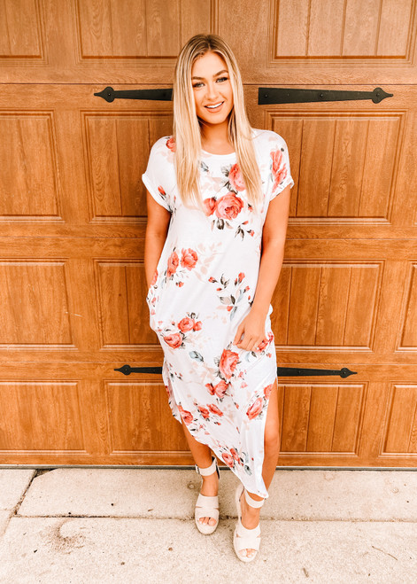 Bring on Spring Floral Rayon Maxi Dress Ivory CLEARANCE