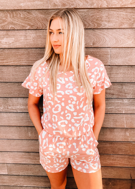 French Terry Leopard Print Ruffle Sleeve Romper Blush CLEARANCE