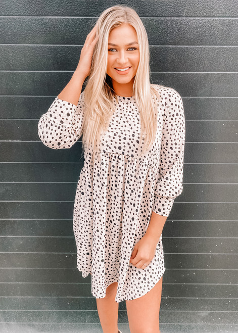 Call Me Maybe Babydoll Leopard Spots Dress Taupe