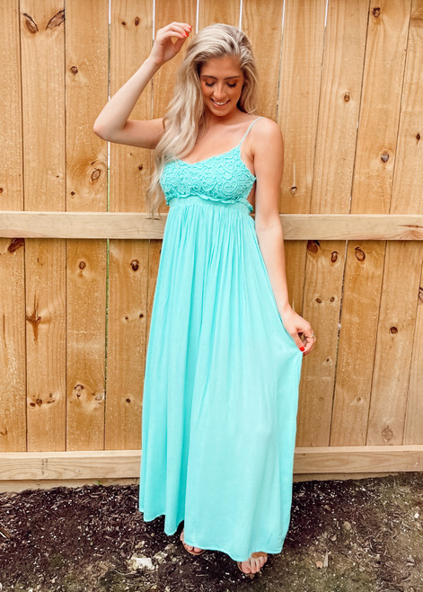 Whisk Me Away Lace Top Open Back Gathered Maxi Dress Mint