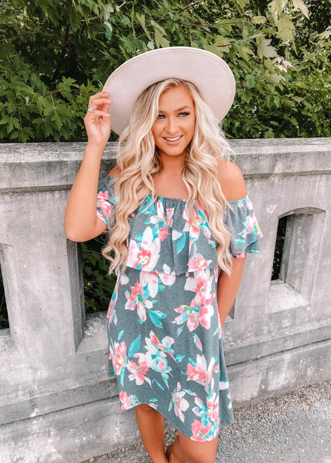 Off Shoulder Ruffle Layered Pocket Floral Dress Navy CLEARANCE