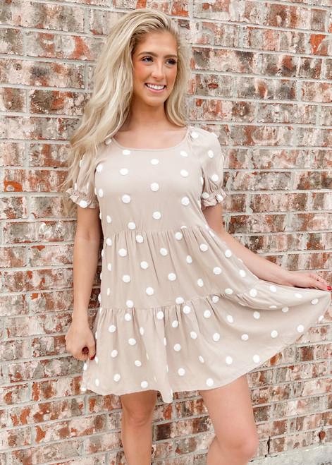 Textured Swiss Dot Puff Ruffle Dress Khaki