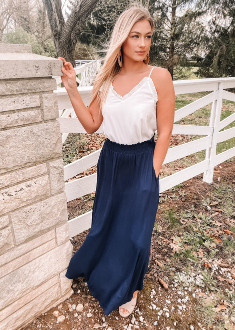 Keep You In Check Maxi Skirt Navy