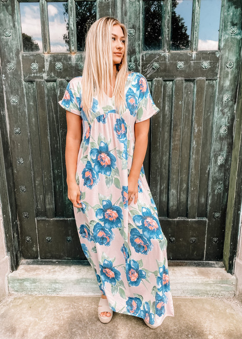 Dolman Sleeve Ruffle Front Detail Floral Maxi Blush CLEARANCE