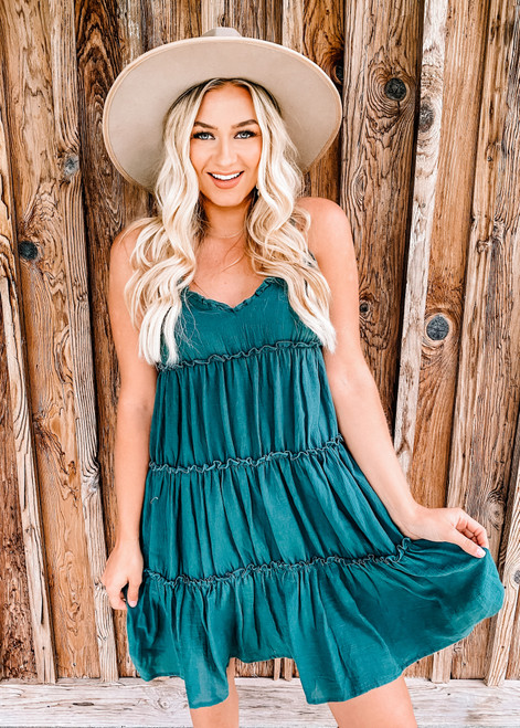 Ruched Tiered Ruffle Dress Green