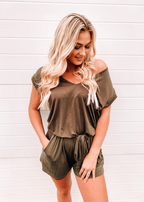 Time To Chill Tie Pocket Romper Olive