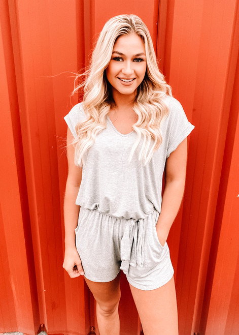 Time To Chill Tie Pocket Romper Heather Grey CLEARANCE