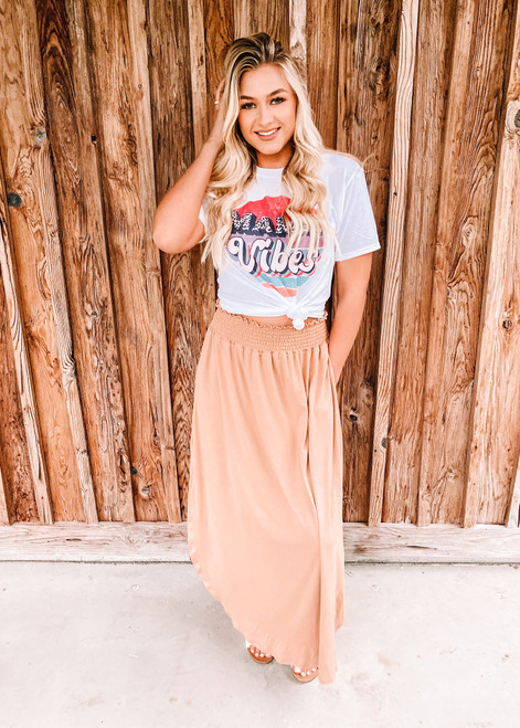 Smocking Waist Maxi Skirt with Side Pockets Camel