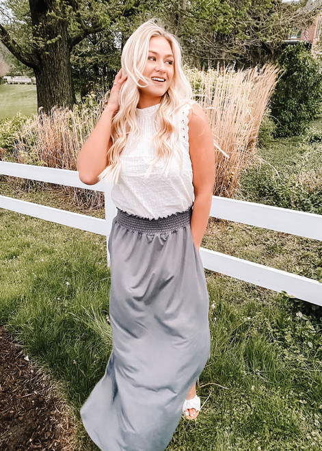 Smocking Waist Maxi Skirt with Side Pockets Charcoal