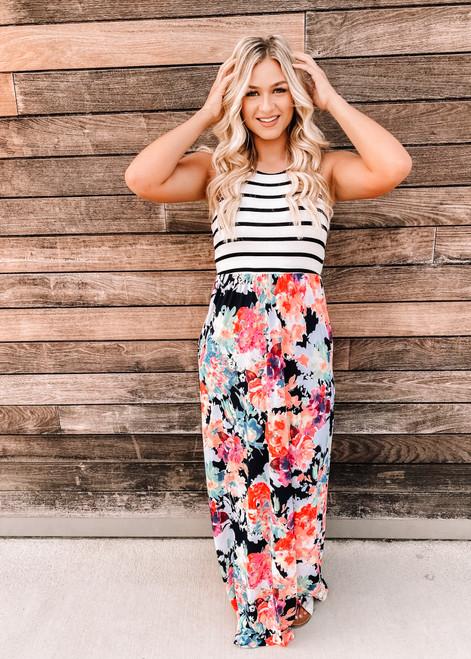 Floral Pattern Bottom Stripe Top Maxi Dress