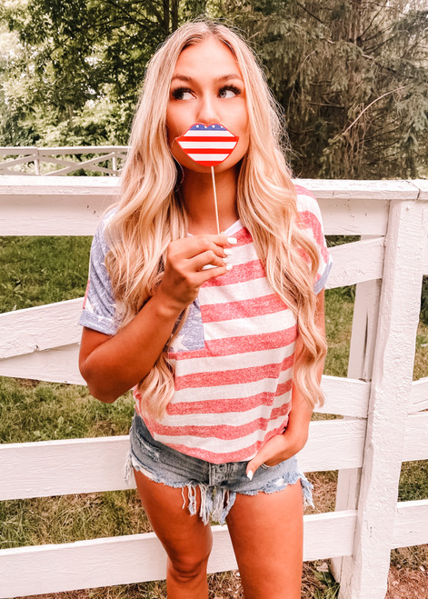 American Flag Round Neck Top