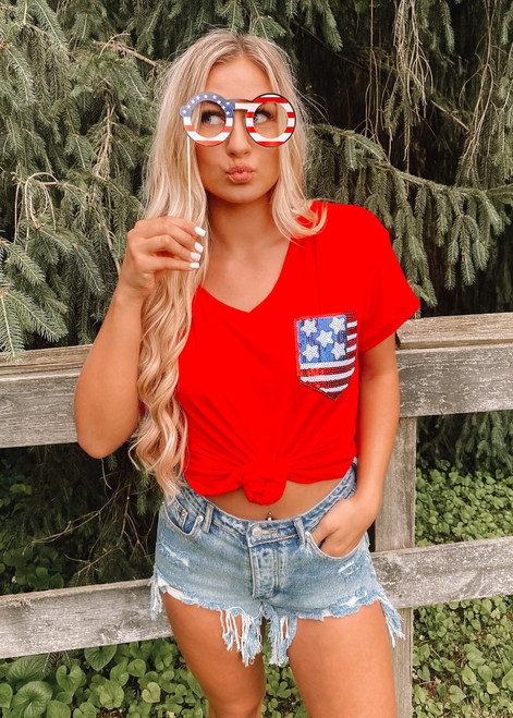 Lady in Red Flag Pocket Top