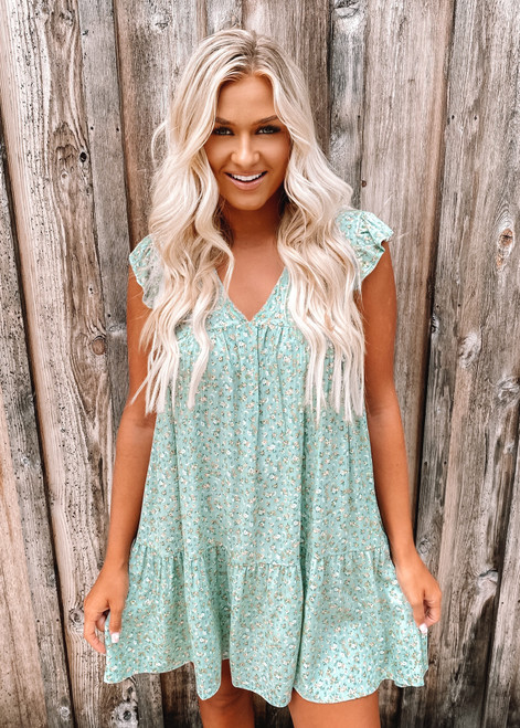 Short Ruffle Sleeve Babydoll Floral Dress Sage Green