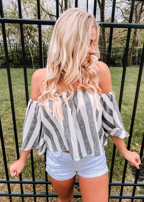 Completely Off The Shoulder Striped Black Chambray Top CLEARANCE