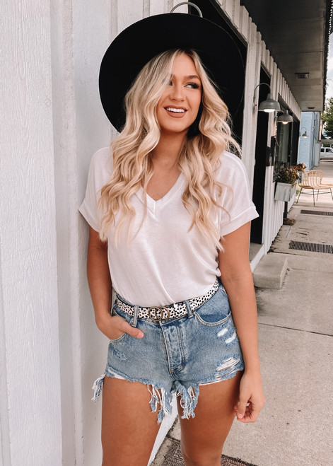 V Neck Short Cuffed Sleeve French Terry Top White CLEARANCE