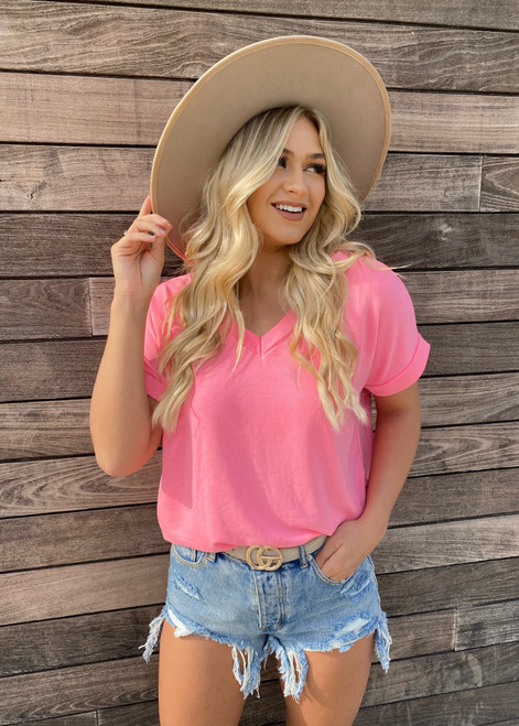 V Neck Short Cuffed Sleeve French Terry Top Neon Pink