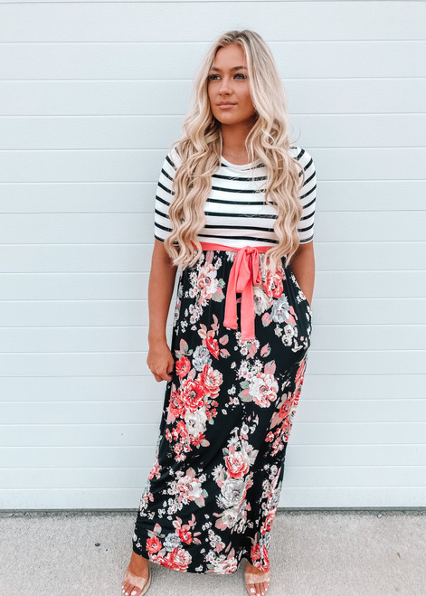 All of My Heart Floral Stripe Tie Maxi Dress
