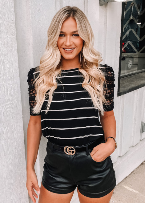 Ruched Lace Pop Sleeves Stripe Top Black
