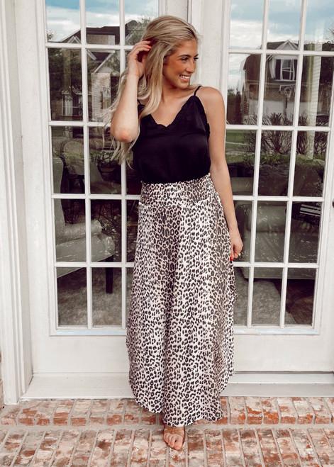 Cheetah Print Smocked Maxi Skirt