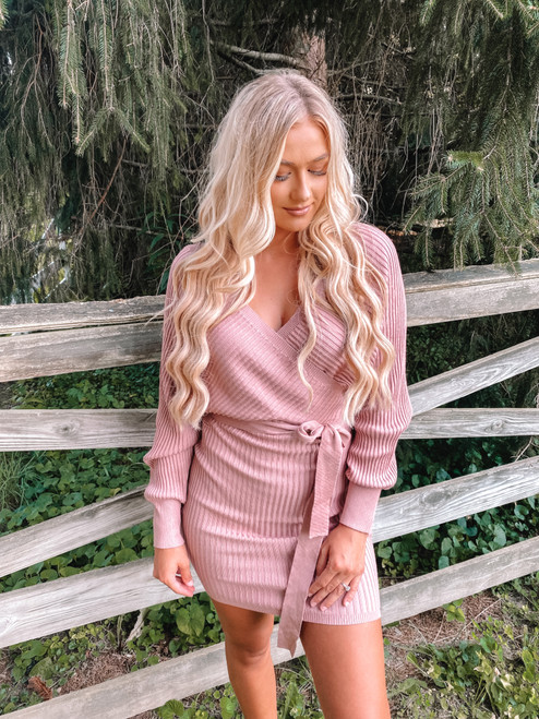 Fully Ribbed Wrap Tie Dress Mauve CLEARANCE