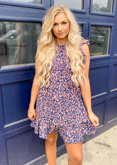 Soft and Flowy Leopard Print Dress CLEARANCE