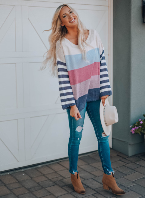 Colorblock Stripe Round Neck Knit Sweater Lavender
