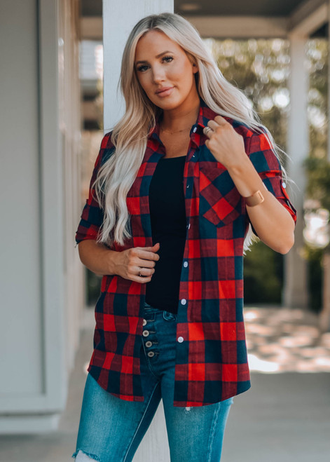 Perfect in Plaid Button Up Top Red/Navy