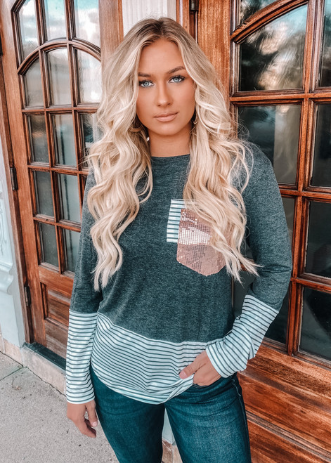 Ace Of Spades Striped Sequins Top Charcoal