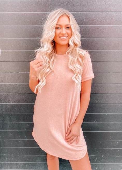 French Terry Relaxed Fit Pocket T Shirt Dress Sherbet