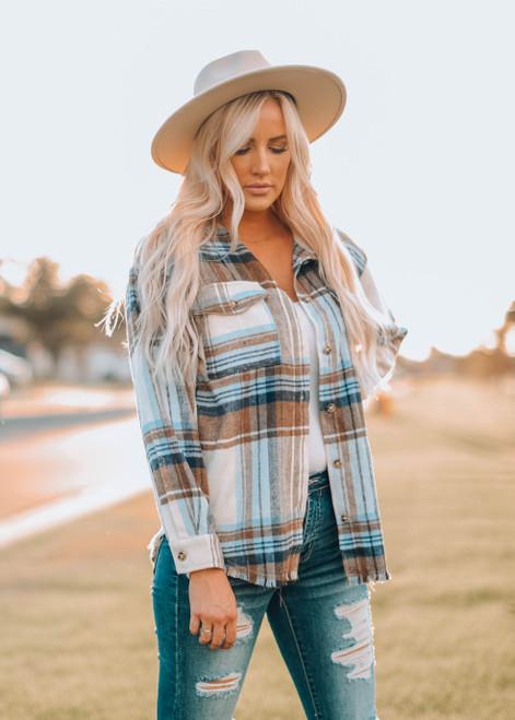 Gotta Have it Yarn Dyed Plaid Shirt Jacket Top