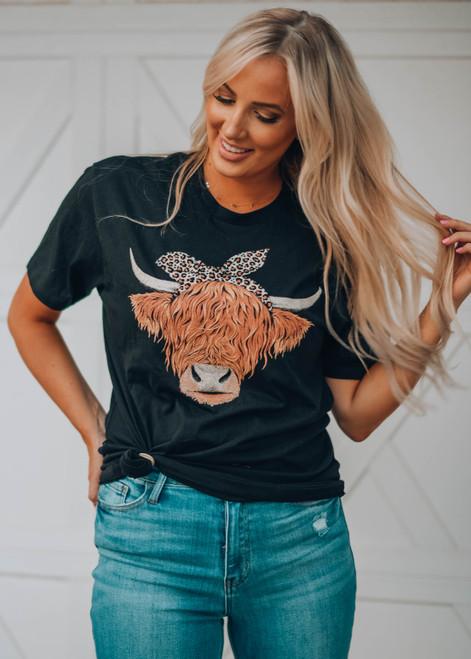 Highland Cow Graphic Boyfriend Tee Black