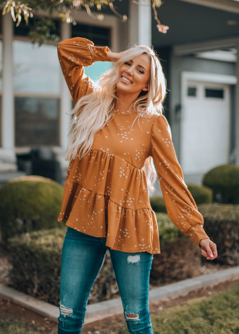 Ditsy Floral Ruffle Babydoll Tunic Top Camel