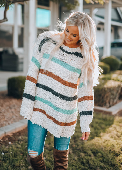 Soft Oversized Stripe Bubble Sleeve Sweater Top Oatmeal