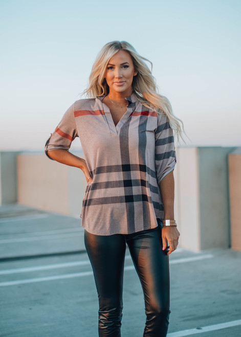 Roll Up Button Sleeve Plaid Top Mocha