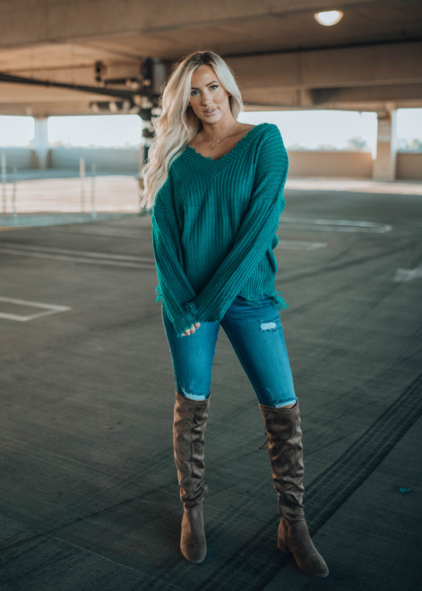 Cozy Up To Me Frayed Knit Sweater Teal