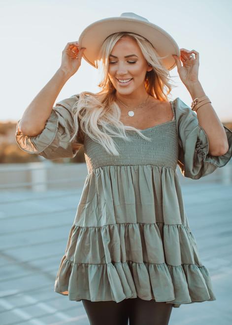 Satin Ruffle Tiered Smocked Bust Babydoll Dress/Tunic Olive