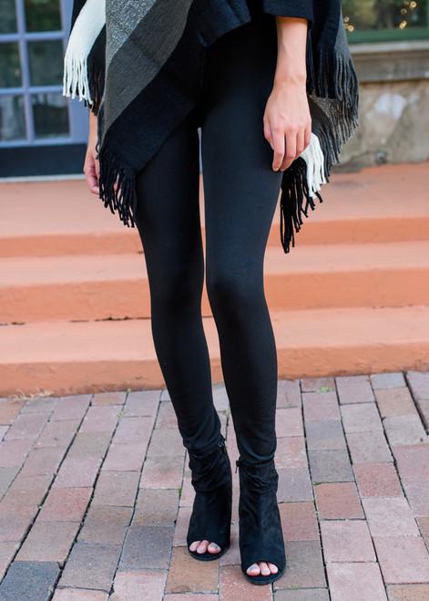 Heavy Weight Fleece Seamless Leggings Black