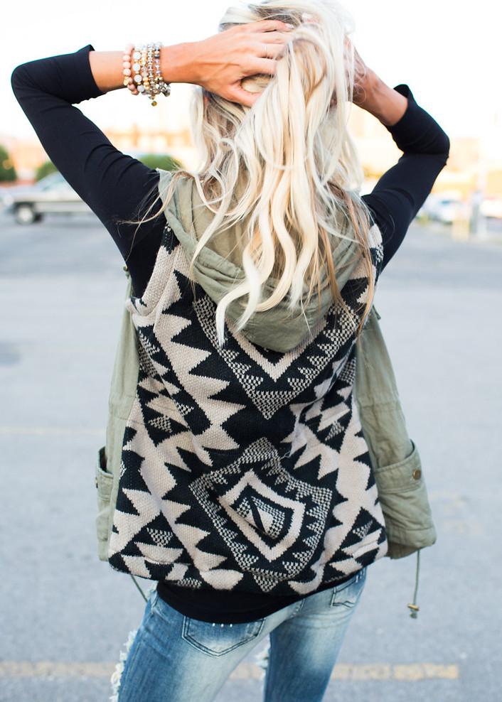 Olive Aztec Back Hooded Vest